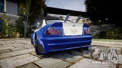 BMW M3 E46 GTR Most Wanted plate NFS Pro Street pour GTA 4 Vue arrière de la gauche