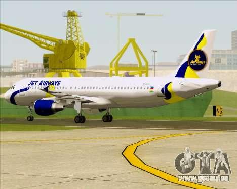 Airbus A320-200 Jet Airways für GTA San Andreas obere Ansicht