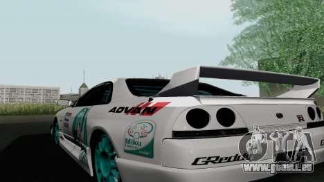Nissan Skyline GT-R33 für GTA San Andreas zurück linke Ansicht
