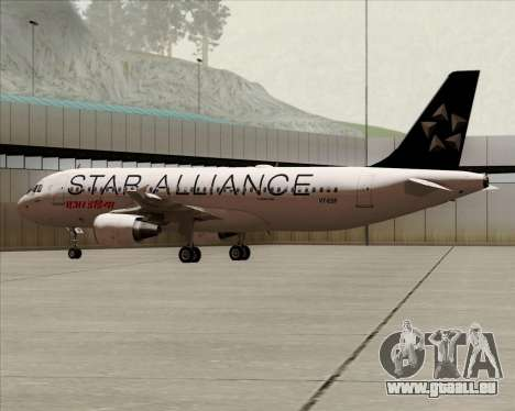 Airbus A320-200 Air India (Star Alliance Livery) für GTA San Andreas zurück linke Ansicht