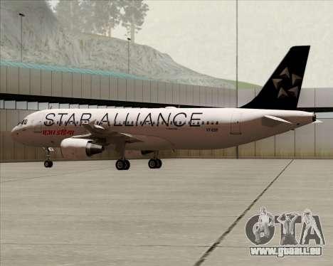 Airbus A320-200 Air India (Star Alliance Livery) pour GTA San Andreas sur la vue arrière gauche