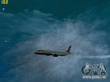 Boeing 737-800 British Airways für GTA San Andreas zurück linke Ansicht
