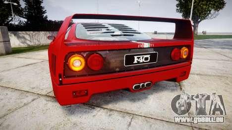 Ferrari F40 1987 [EPM] Tricolore pour GTA 4 Vue arrière de la gauche