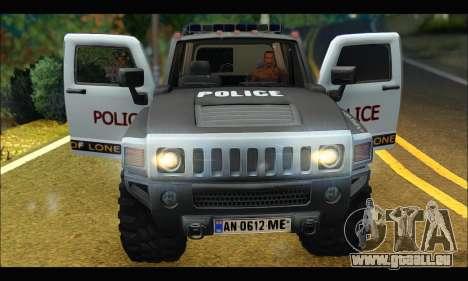 Hummer H3 Police pour GTA San Andreas vue arrière