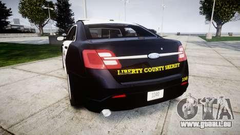 Ford Taurus 2014 Sheriff [ELS] pour GTA 4 Vue arrière de la gauche