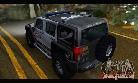 Hummer H3 Police pour GTA San Andreas sur la vue arrière gauche