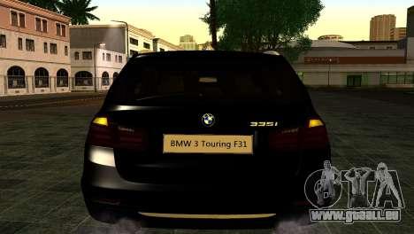 BMW 3 Touring F31 2013 1.0 für GTA San Andreas Rückansicht