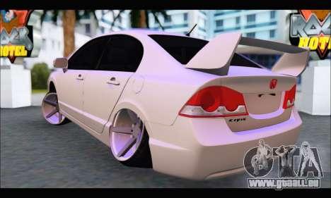 Honda Civic Korea Style pour GTA San Andreas sur la vue arrière gauche