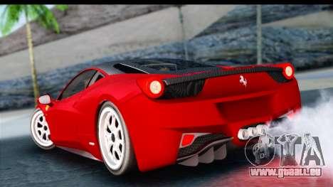 Ferrari 458 Italia Stanced für GTA San Andreas linke Ansicht