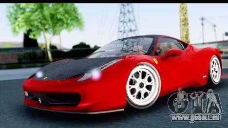 Ferrari 458 Italia Stanced für GTA San Andreas zurück linke Ansicht