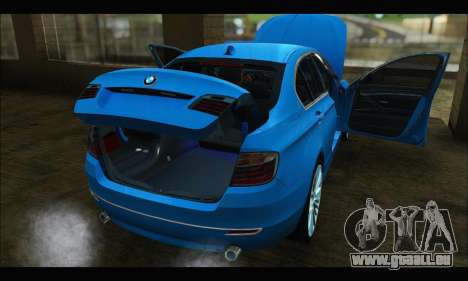 BMW 5 series F10 2014 pour GTA San Andreas sur la vue arrière gauche