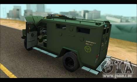Lenco Bearcat SANG MedEvac 2009 pour GTA San Andreas vue de droite