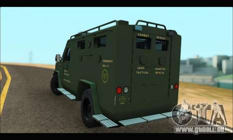 Lenco Bearcat SANG MedEvac 2009 pour GTA San Andreas sur la vue arrière gauche