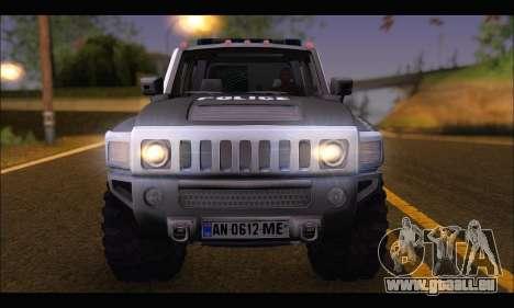 Hummer H3 Police pour GTA San Andreas vue de droite
