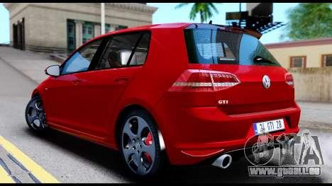 Volkswagen Golf GTI 2015 pour GTA San Andreas sur la vue arrière gauche