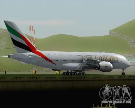 Airbus A380-800 Emirates (A6-EDJ) für GTA San Andreas zurück linke Ansicht