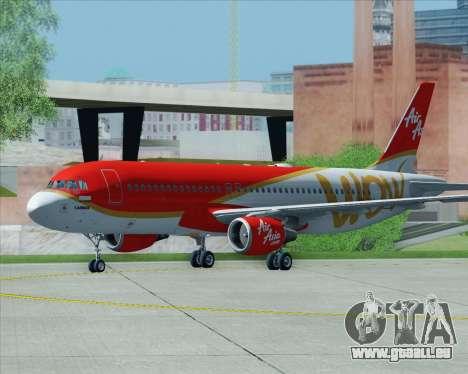Airbus A320-200 Indonesia AirAsia WOW Livery pour GTA San Andreas vue de dessous
