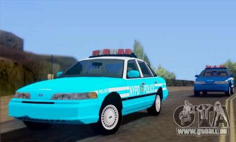 Ford Crown Victoria NYPD Blue pour GTA San Andreas sur la vue arrière gauche