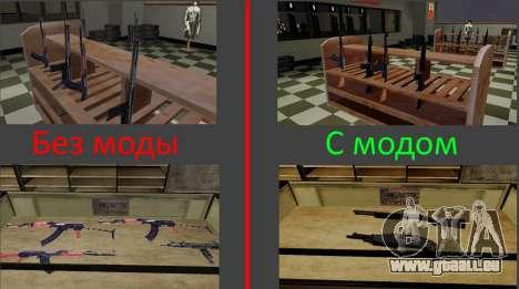 Les modèles 3D des armes dans l'Ammu-nation pour GTA San Andreas