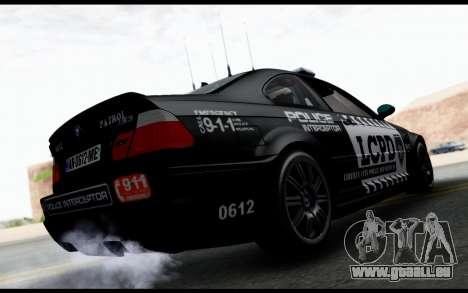 BMW M3 E46 Police pour GTA San Andreas laissé vue