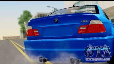 BMW M3 Stance pour GTA San Andreas sur la vue arrière gauche