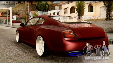 Bentley Continental VIP Stance Style pour GTA San Andreas sur la vue arrière gauche