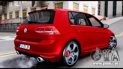 Volkswagen Golf GTI 2015 pour GTA San Andreas laissé vue