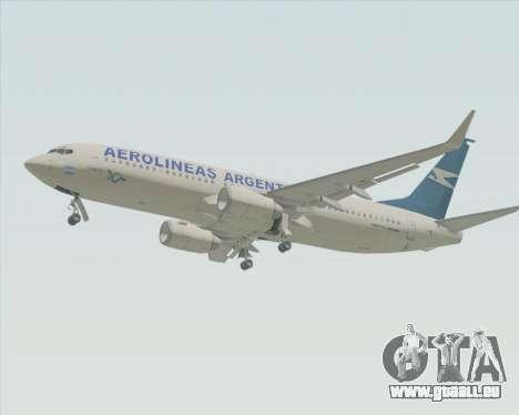 Boeing 737-800 Aerolineas Argentinas pour GTA San Andreas sur la vue arrière gauche