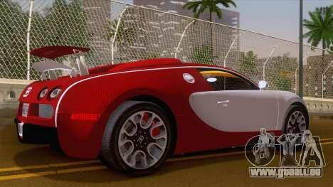 Bugatti Veyron Grand Sport Sang Bleu 2008 für GTA San Andreas zurück linke Ansicht