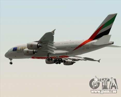Airbus A380-800 Emirates (A6-EDJ) für GTA San Andreas Rückansicht