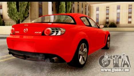 Mazda RX-8 2005 pour GTA San Andreas laissé vue