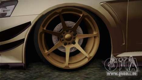 Mitsubishi Lancer Evolution X für GTA San Andreas zurück linke Ansicht
