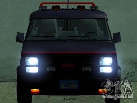 GMC The A-Team Van pour GTA San Andreas sur la vue arrière gauche