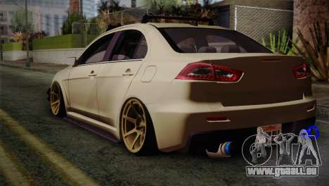 Mitsubishi Lancer Evolution X für GTA San Andreas linke Ansicht