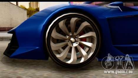 GTA 5 Pegassi Zentorno v2 für GTA San Andreas zurück linke Ansicht