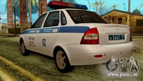 Lada Priora 2170 Polizei DPS Moskau für GTA San Andreas linke Ansicht