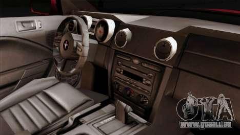 Ford Mustang GT PJ Wheels 2 pour GTA San Andreas vue de droite