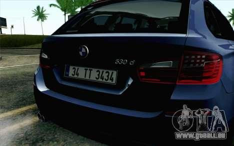 BMW 530d F11 Facelift HQLM pour GTA San Andreas vue arrière