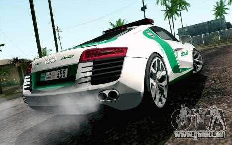 Audi R8 V8 FSI 2014 Dubai Police pour GTA San Andreas laissé vue