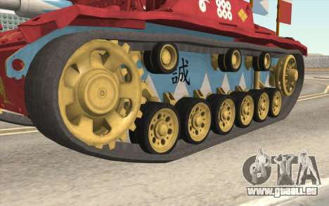 StuG III Ausf. G Girls and Panzer Color Camo für GTA San Andreas Rückansicht
