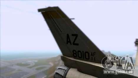 F-16F Fighting Falcon United Arab Emirates pour GTA San Andreas sur la vue arrière gauche