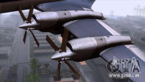 L-188 Electra Fled Olsen pour GTA San Andreas sur la vue arrière gauche
