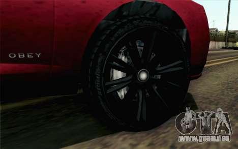GTA 5 Obey Tailgater v2 SA Style für GTA San Andreas zurück linke Ansicht