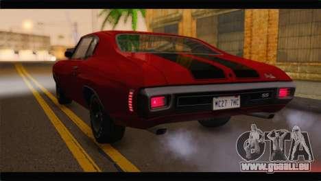 Chevrolet Chevelle 1970 Flat Shadow pour GTA San Andreas laissé vue