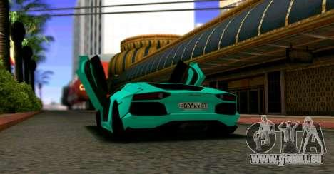 Lamborghini Aventador LP700-4 2012 für GTA San Andreas zurück linke Ansicht