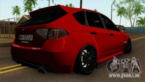 Subaru Impreza WRX STI Stanced pour GTA San Andreas laissé vue