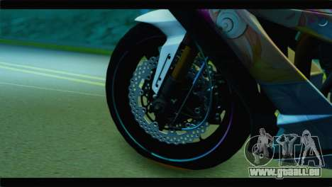 Kawasaki Ninja ZX-10R Super Sonico Itansha für GTA San Andreas zurück linke Ansicht
