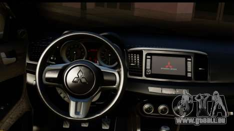 Mitsubishi Lancer Evo X pour GTA San Andreas vue intérieure