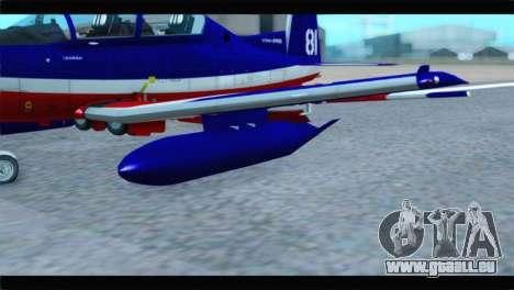 Beechcraft T-6 Texan II Red pour GTA San Andreas vue de droite