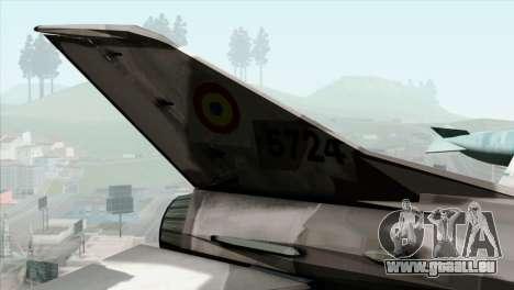 Hawker Hunter F6A pour GTA San Andreas sur la vue arrière gauche